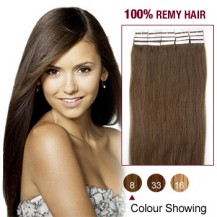 "22"" Ash Brown(#8) 20pcs Tape In Remy Human Hair Extensions"
