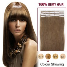 "22"" Golden Brown(#12) 20pcs Tape In Remy Human Hair Extensions"