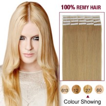 "18"" Strawberry Blonde(#27) 20pcs Tape In Human Hair Extensions"