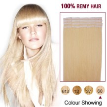 "18"" White Blonde(#60) 20pcs Tape In Human Hair Extensions"