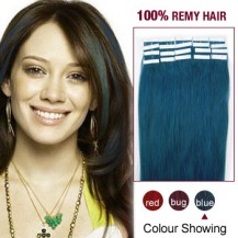 "24"" Blue 20pcs Tape In Human Hair Extensions"