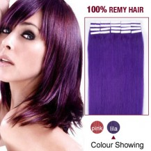"22"" Lila 20pcs Tape In Remy Human Hair Extensions"