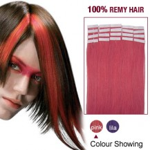 "22"" Pink 20pcs Tape In Remy Human Hair Extensions"