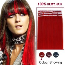 "24"" Red 20pcs Tape In Human Hair Extensions"