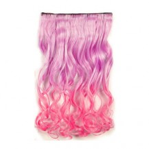 Ombre Colorful Clip in Hair Wavy 02# Pink/Warm Pink 1 Piece