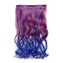 Ombre Colorful Clip in Hair Wavy 04# Rosy/Blue 1 Piece