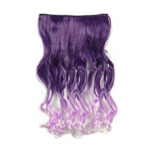 Ombre Colorful Clip in Hair Wavy 05# Deep purple/Light Purple 1 Piece