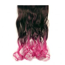 Ombre Colorful Clip in Hair Wavy 06# Black/Rosy 1 Piece