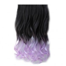 Ombre Colorful Clip in Hair Wavy 17# Black/Purple 1 Piece